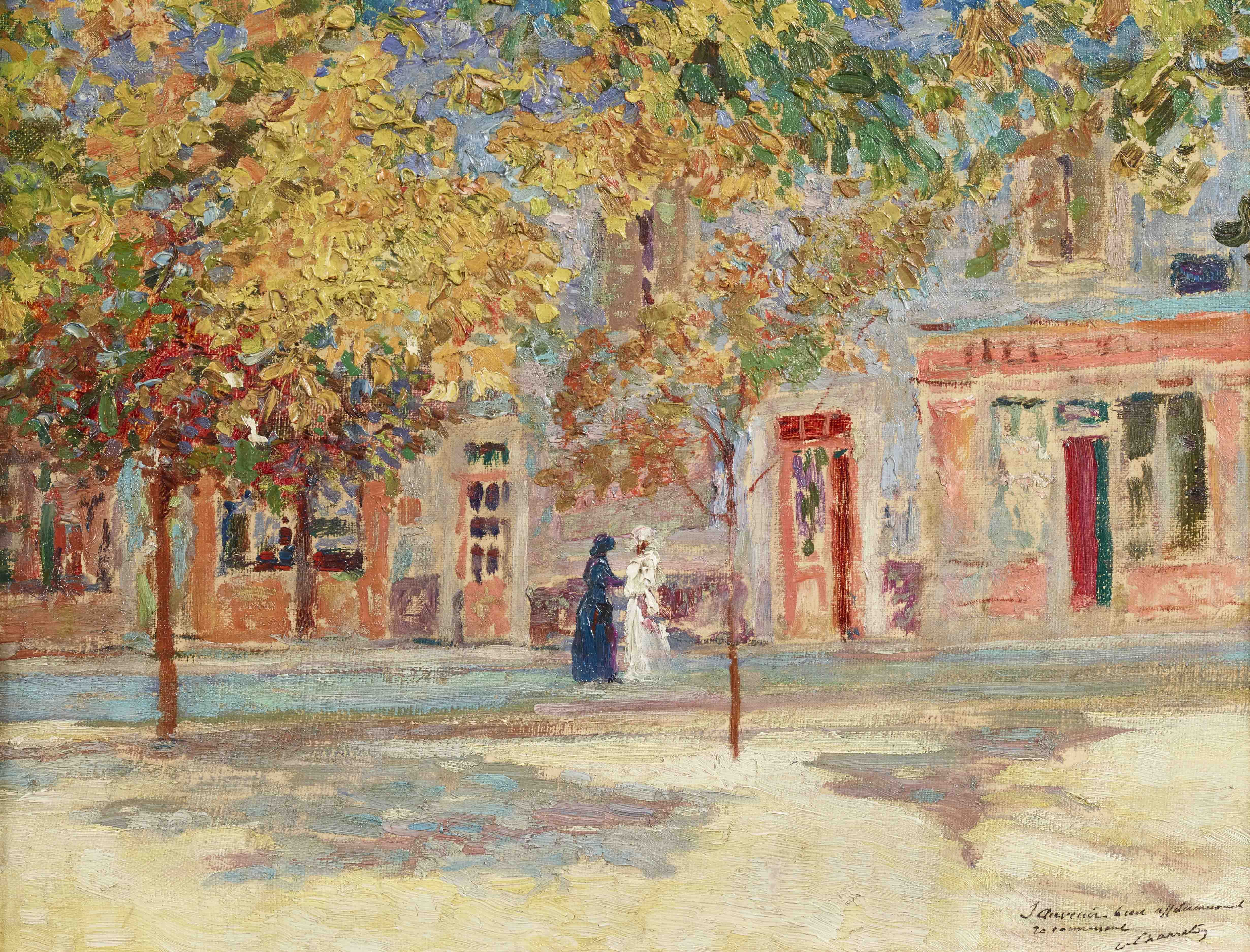 The Village Square by VICTOR CHARRETON 1864-1936